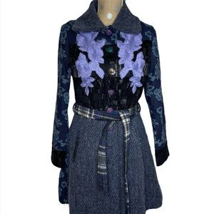 Sacred Thread Wool Princess Floral Patch Boho Coat